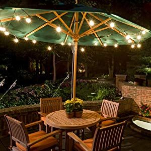 28 Ft|UL Listed 25 Socket Outdoor White Patio String Light Cord With G40  Clear Globe Bulbs - E12 C7 Base On Sale Now! String Lights at