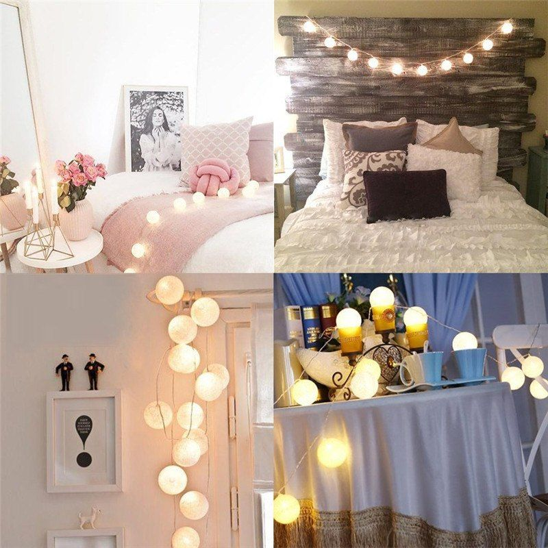 5.5 FT|10 LED Battery Operated Black & White Round Cotton Ball String  Lights With Timer from PaperLanternStore at the Best Bulk Wholesale Prices.