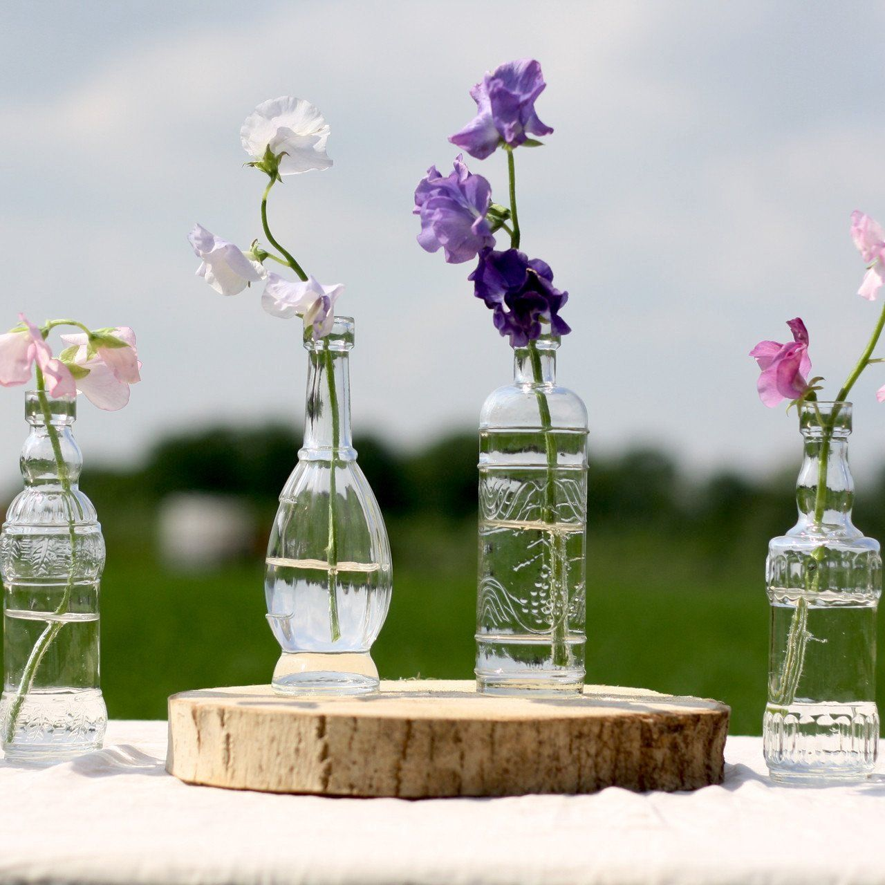 Flower Vases For Weddings: 6pc Camila Combo Set Decorative Vintage Glass Bottles And