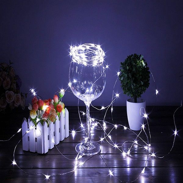 20 White Led Micro Fairy String Lights 7 5ft Battery Operated