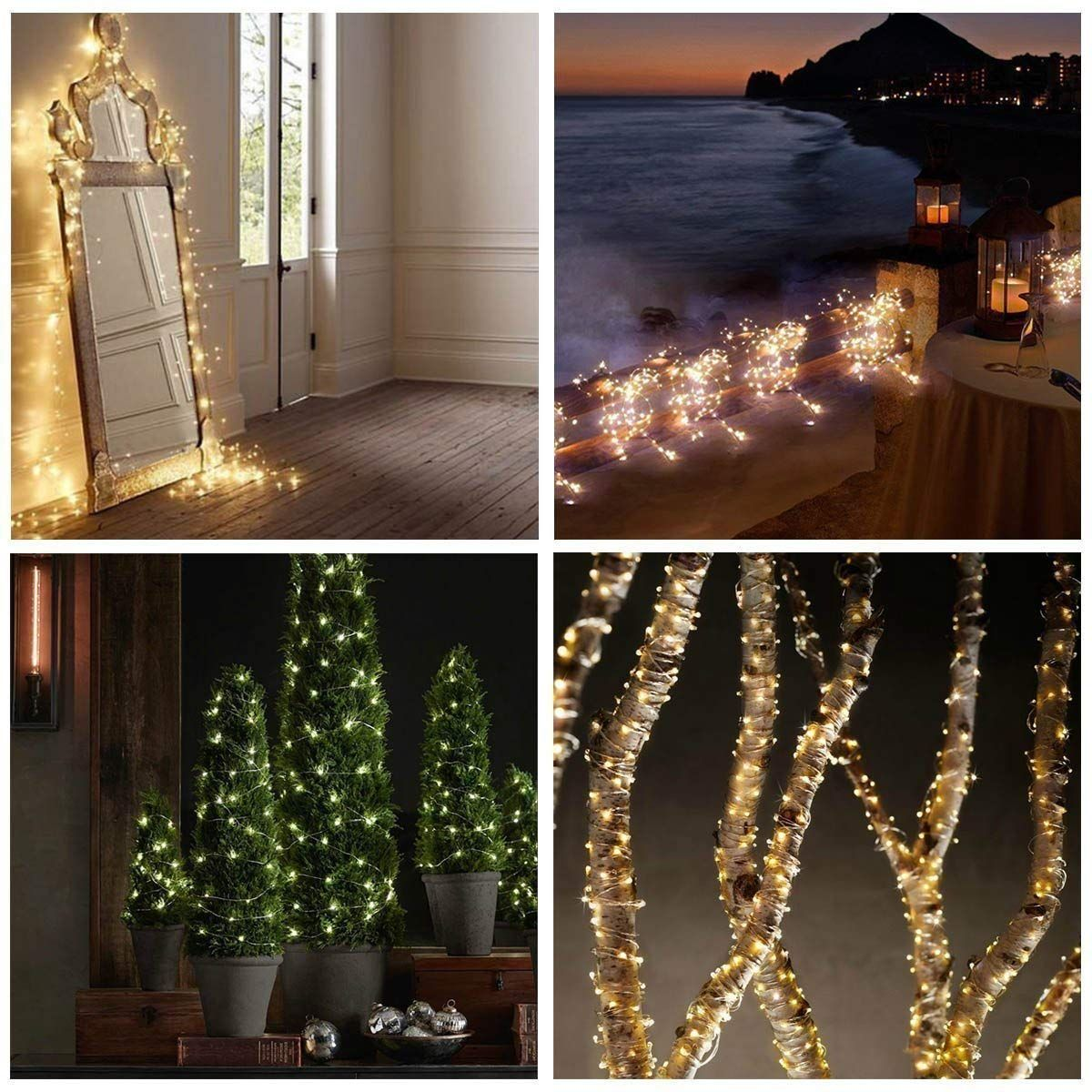 20 White LED Fairy Wire Weatherproof String Lights W