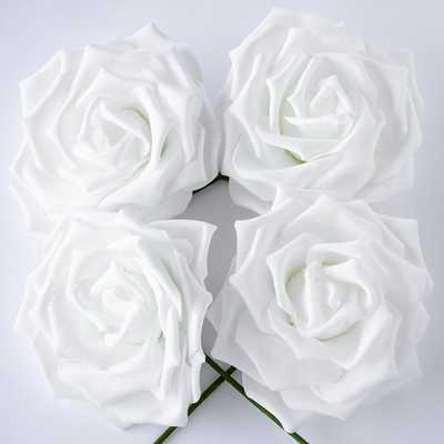 8 Inch White Garden Rose Foam Flower Backdrop Wall Decor