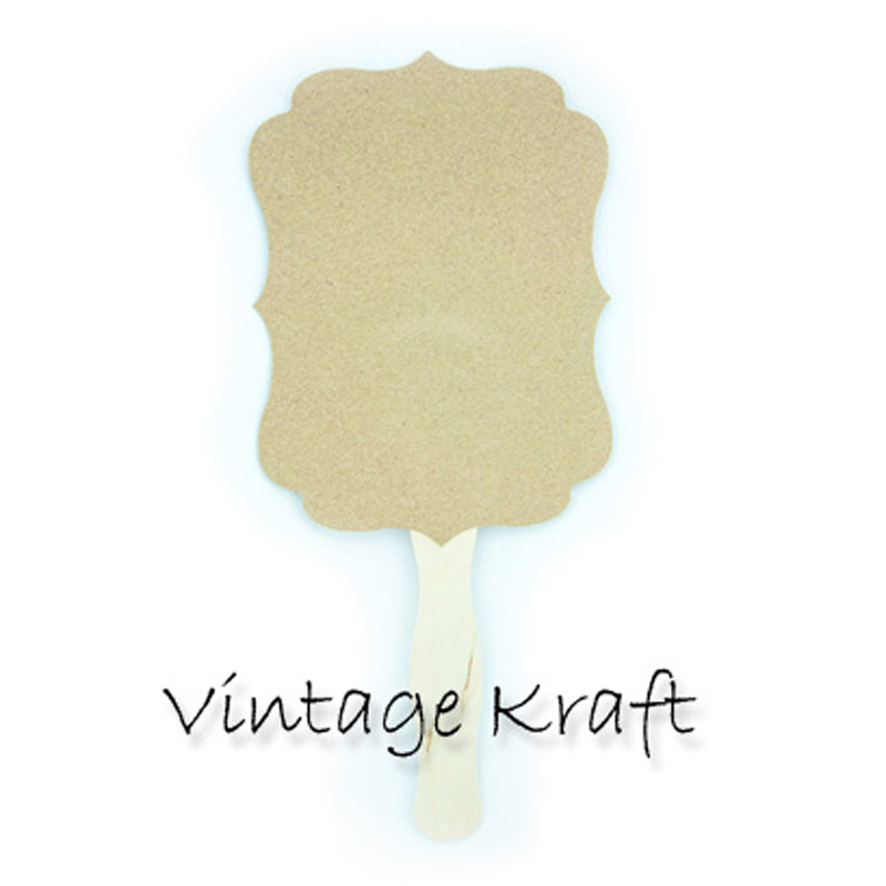 Blank Kraft Vintage Paddle Fans for DIY Wedding Invitations and Programs (20-Pack)