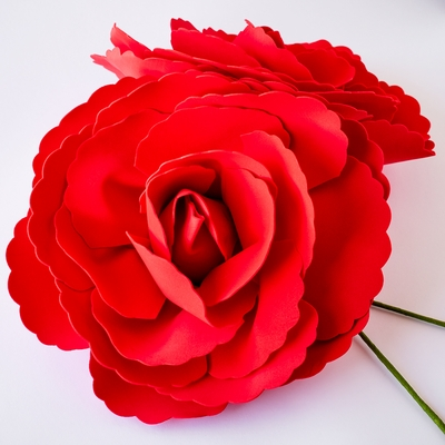 Giant 16 Inch Red Tea Rose Foam Flower Backdrop Wall Decor