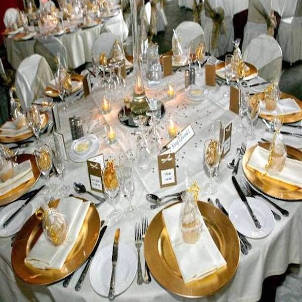 6 Pack 13 Inch Gold Heavy Duty Wedding Charger Plate With Medieval Trim On Sale From