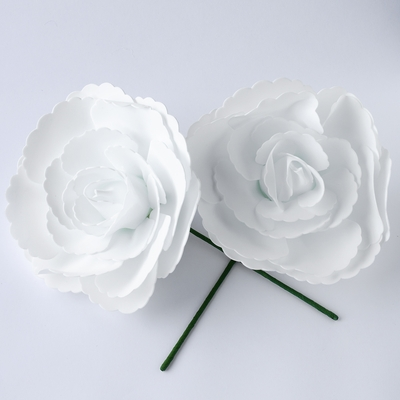 Large 12 Inch White Tea Rose Foam Flower Backdrop Wall