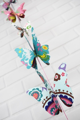 Multi Patterned 3d Butterfly Hanging Vertical Garland 3 3