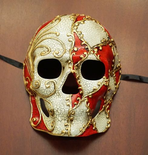 Abstract Skull Mask Red
