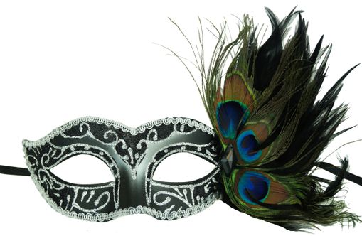 Adrienna Masquerade feather Mask Black