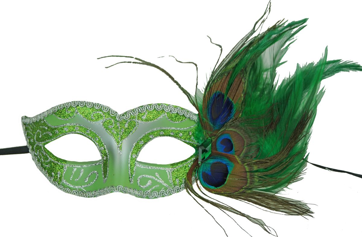 Adrienna Masquerade feather Mask Green