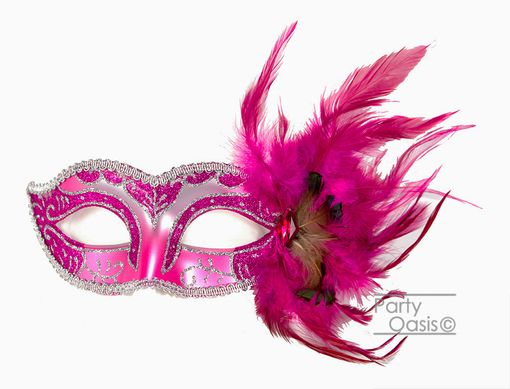 Adrienna Masquerade feather Mask Hot PInk