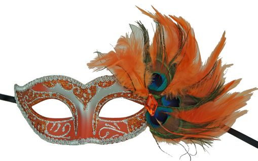 Adrienna Masquerade feather Mask Orange