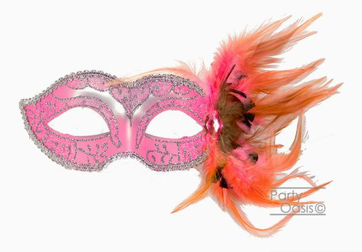 Adrienna Masquerade feather Mask Pink