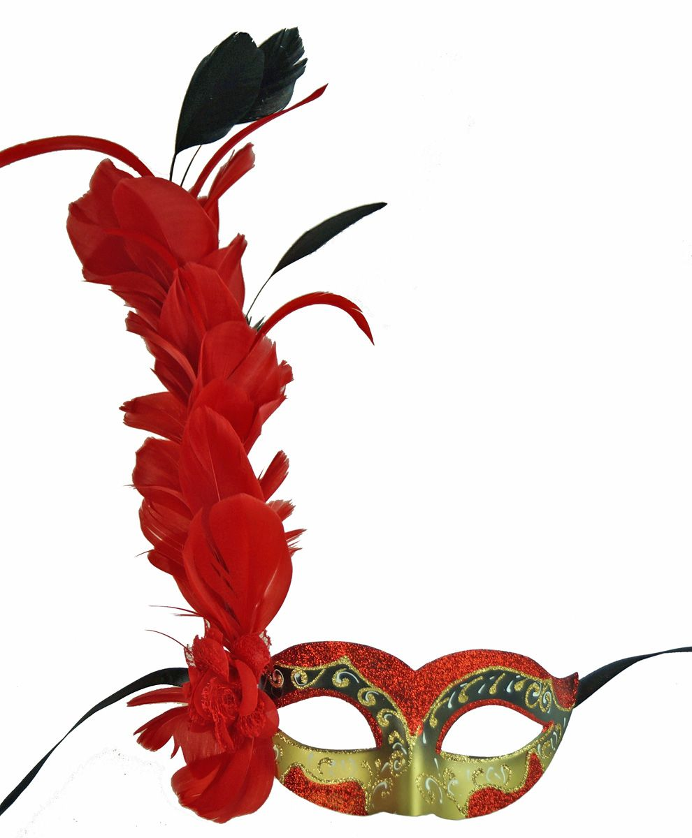 Alexandra Red Mask With Feathers For Masquerade