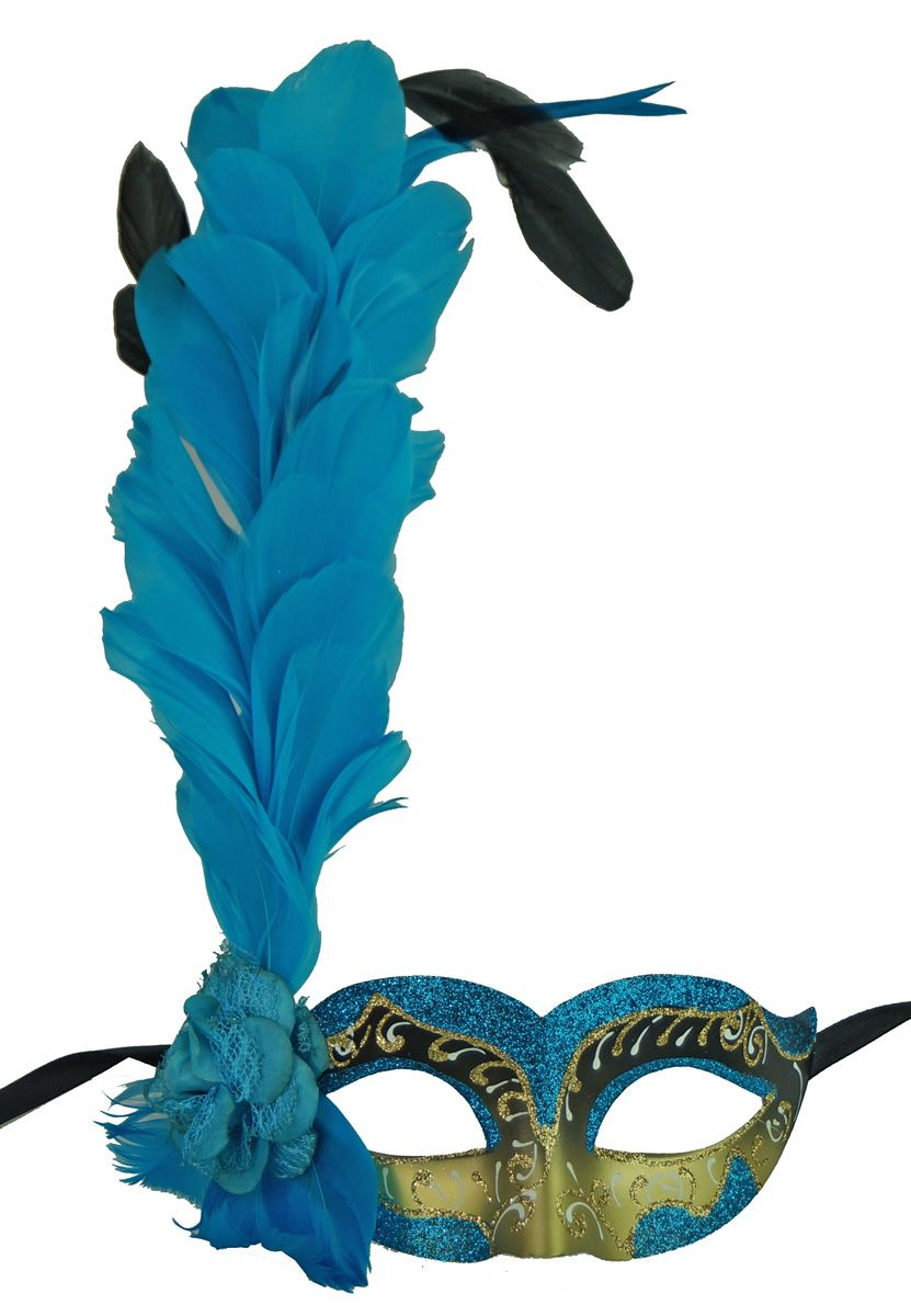 Aqua Alexandra Feather Masquerade Mask