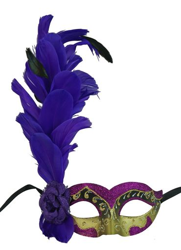Purple Alexandra Masquerade Mask With Feathers