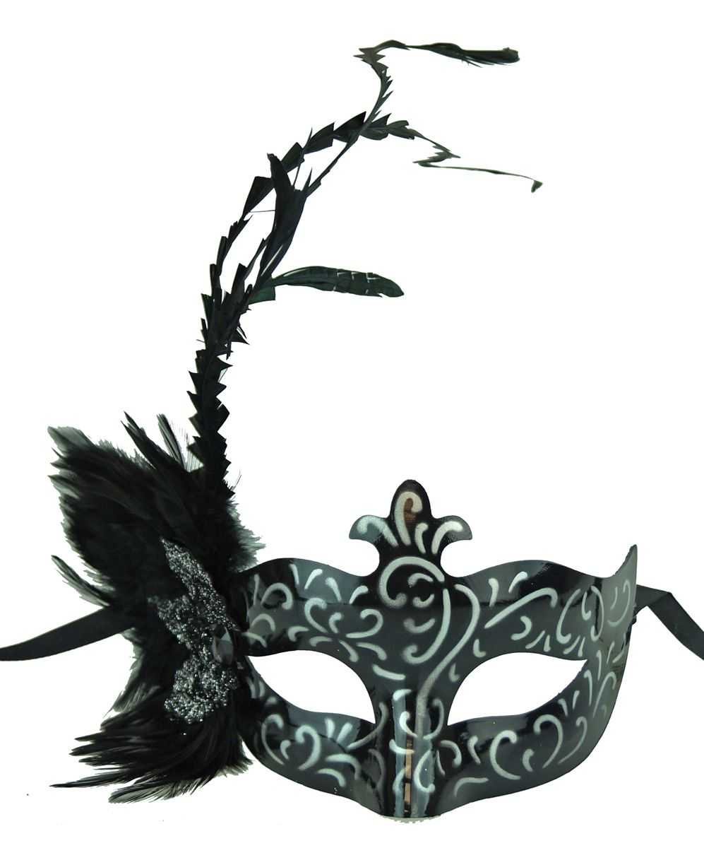 Angelina Masquerade Mask Silver With Feathers