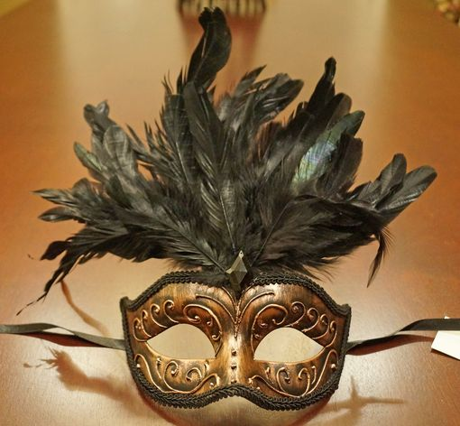 Antique Bronze Masquerade Mask With Feathers