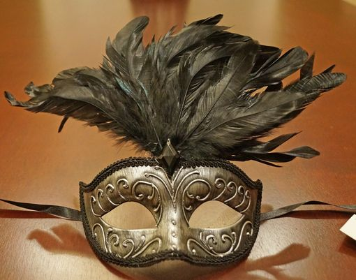 Antique Silver Feather Masquerade Mask