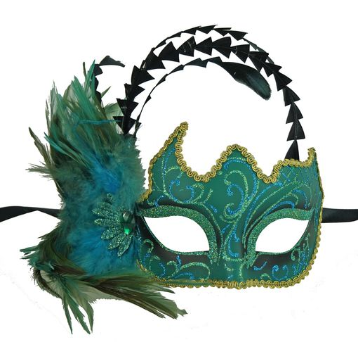 Katrel Aqua Masquerade Mask With Feathers