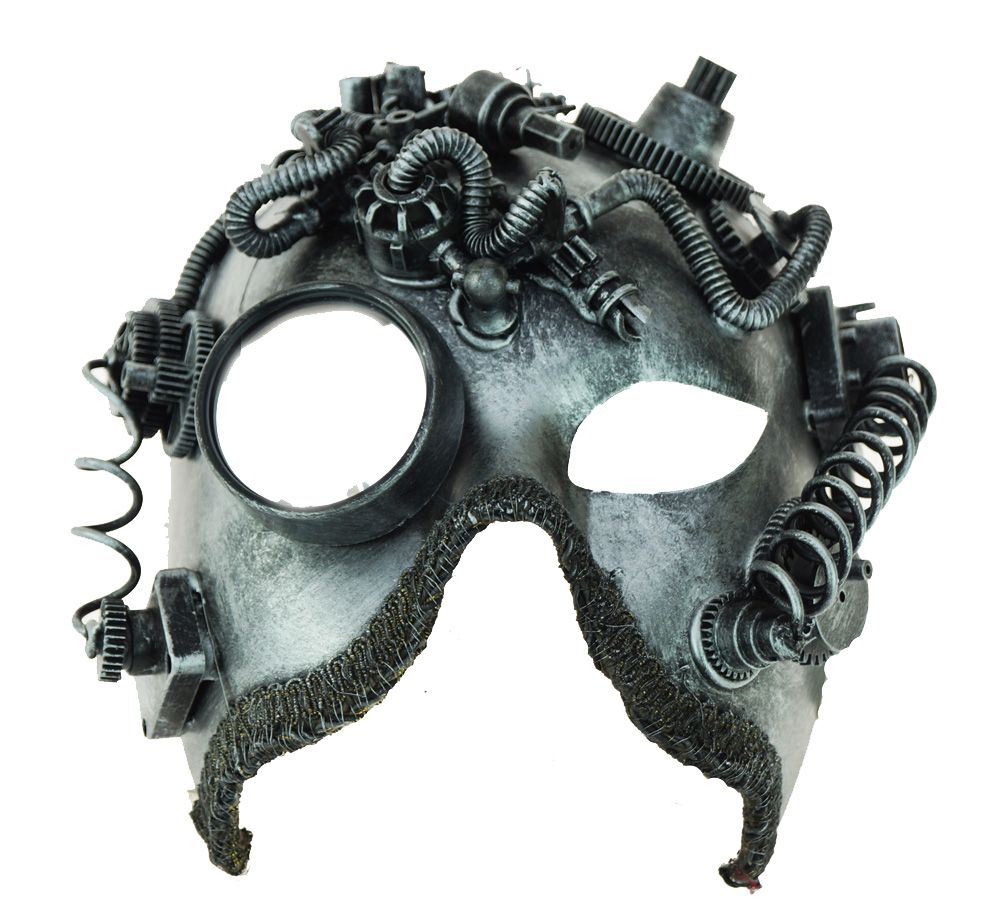Steampunk Mask Silver With Mirror Goggle