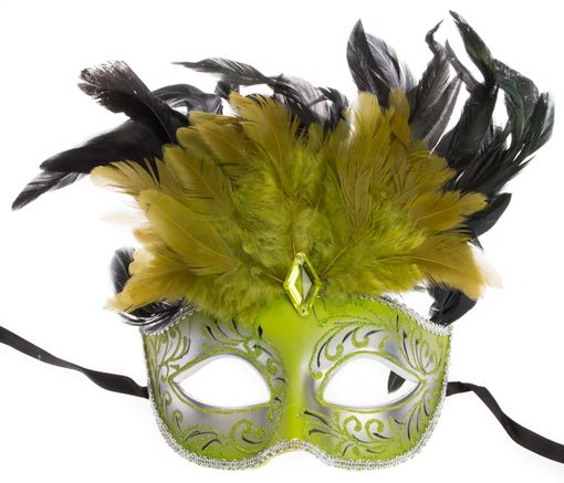 Ariana Feather Green Masquerade Mask