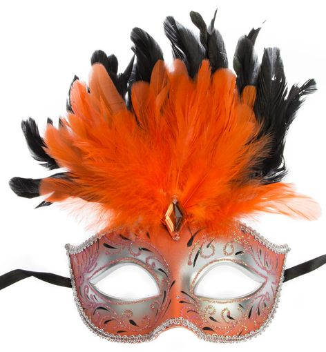 Ariana Feather Ariana  Orange Masquerade Mask