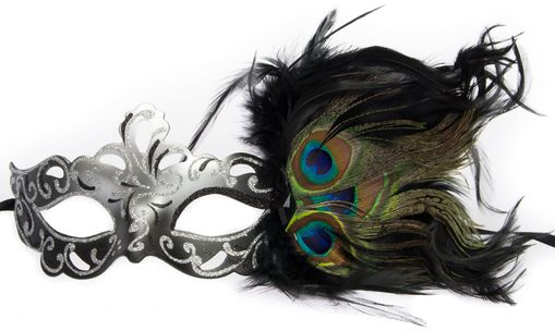 Aubrey Black Masquerade Mask With Feathers