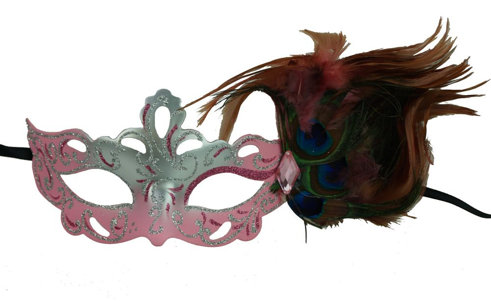 Aubrey Pink Masquerade Mask With Feathers