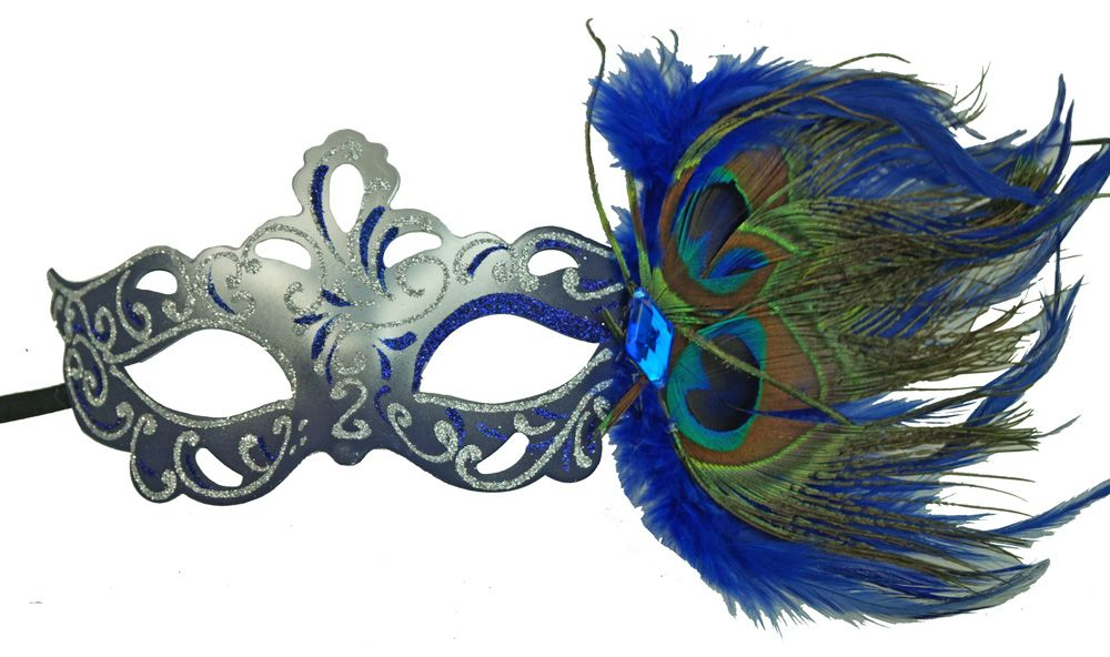 Aubrey Blue Masquerade Mask With Feathers