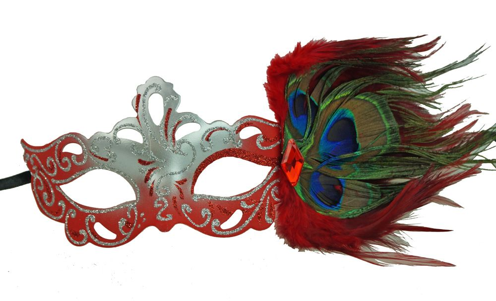 Aubrey Red Masquerade Mask With Feathers