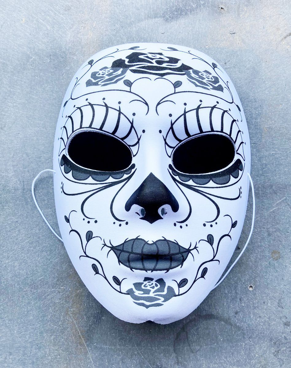 Black And White Roses Day Of The Dead Mask Halloween Costume Mask