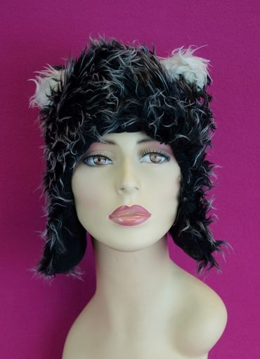 Black and White Furry Hat