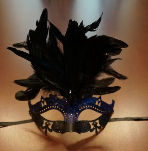 Black & Blue Masquerade Mask w/ Feathers