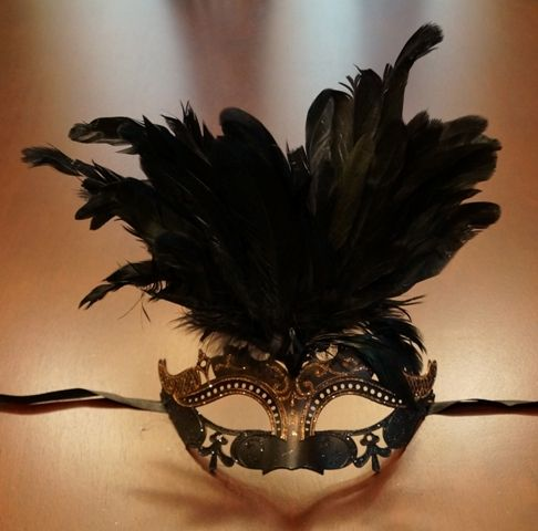 Black & Bronze Masquerade Mask w/ Feathers