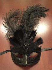 Black Feather Masquerade Eye Mask With Feathers
