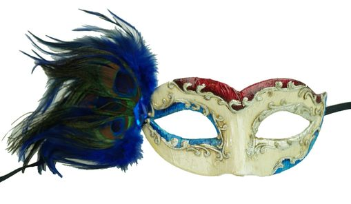 Blue Feather Masquerade Mask With Feathers