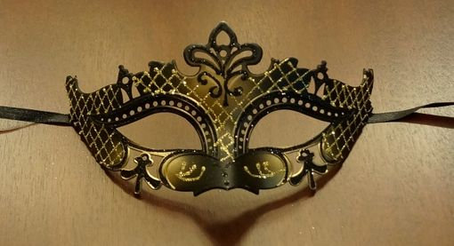 Black & Gold Lazer Cut Masquerade Mask