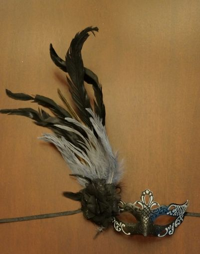 Black Grey Masquerade Mask With Feathers