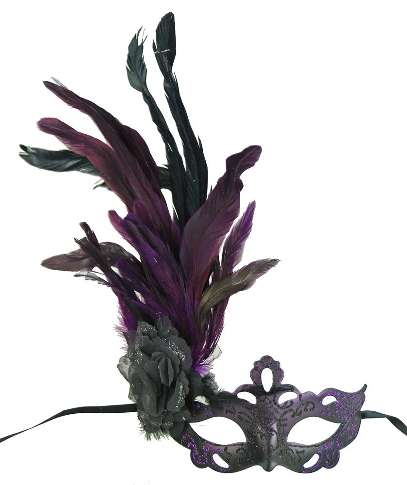 Black Purple Masquerade Mask With Feathers