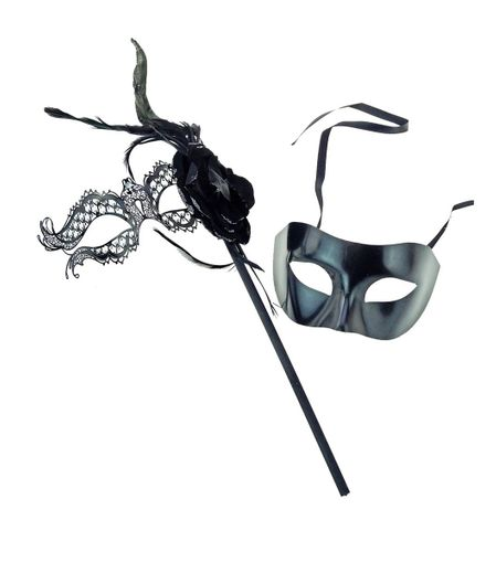 Black His And Hers Venetian Couples Masquerade Masks