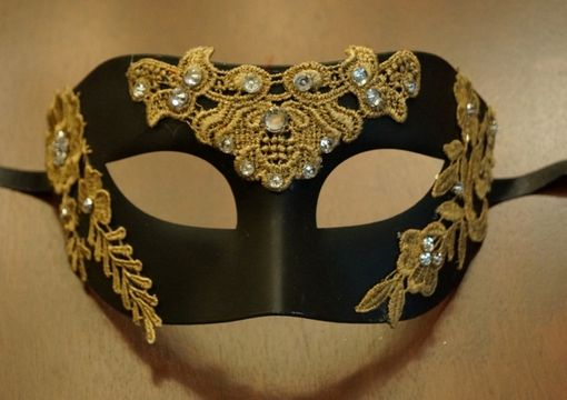 Black Masquerade Mask with Gold Lace