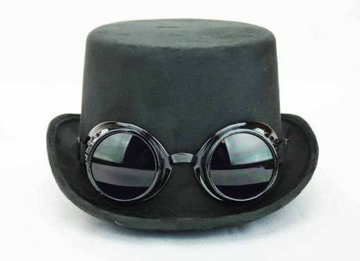 Black Steam Punk Hat With Goggles