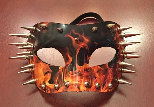 Blazing Fire Mask With Spikes And Studs Cosplay Costume Mask