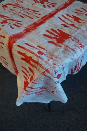 "Bloody hand print tablecloth 48"" x 72"""