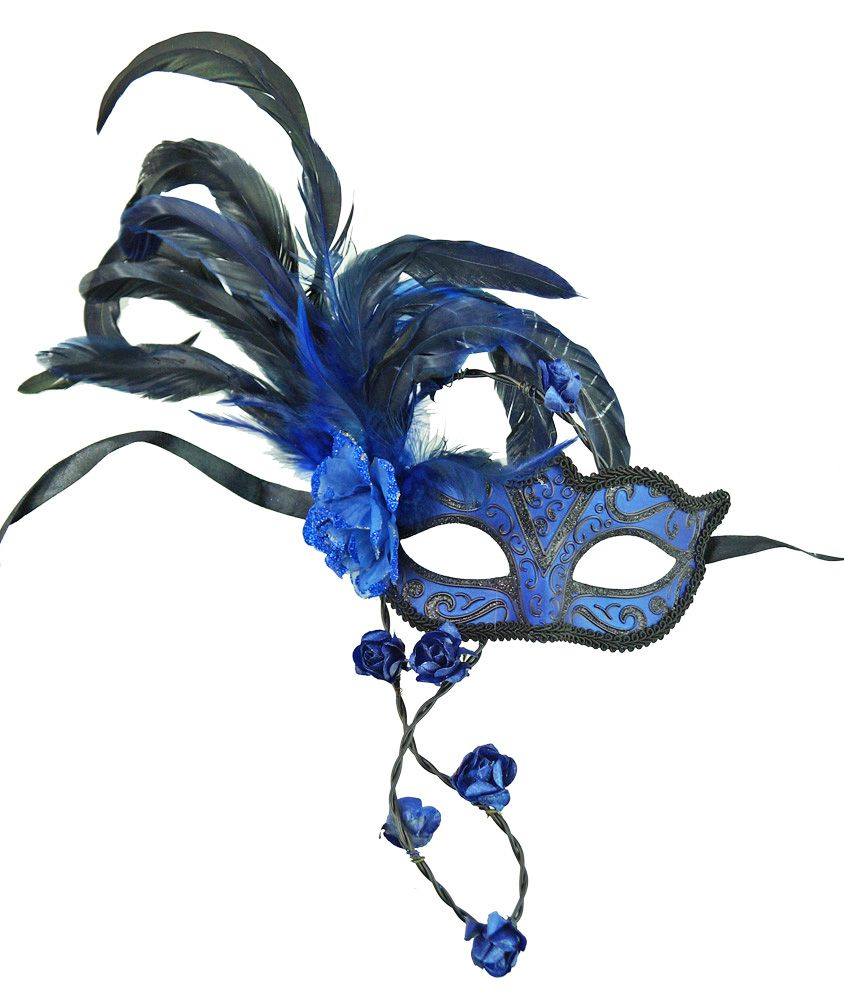Blue Rose Masquerade Mask With Feathers