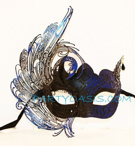 Blue Swan Metal Masquerade Mask