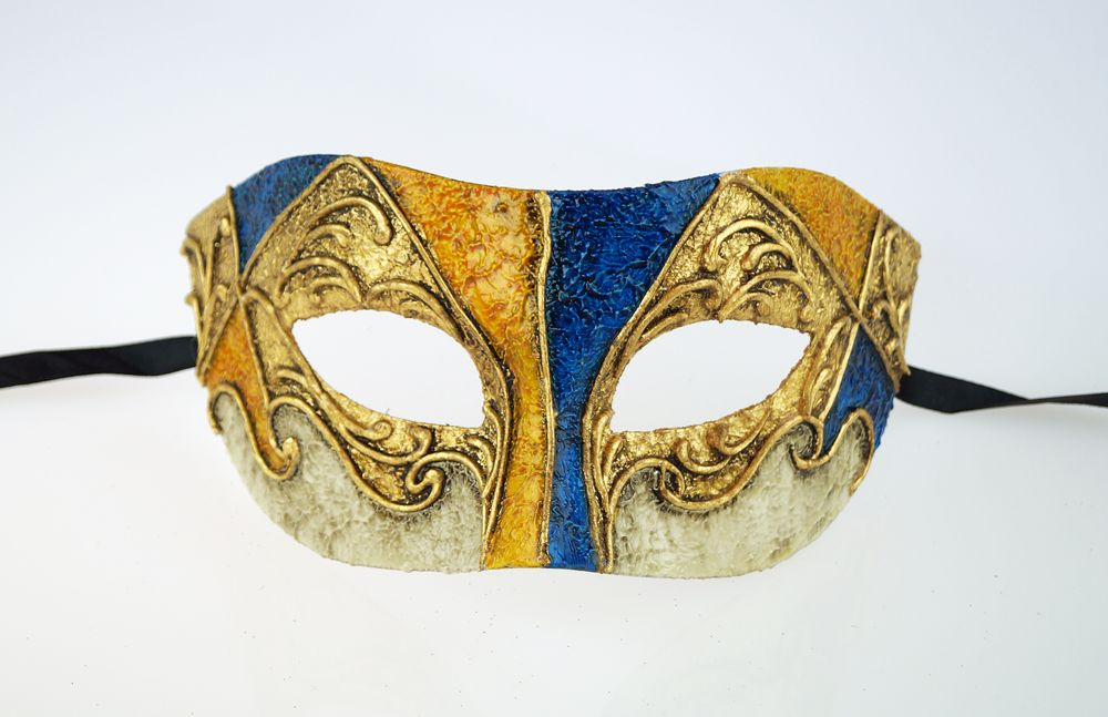 Bortolo Venetian Men's Orange Masquerade Mask