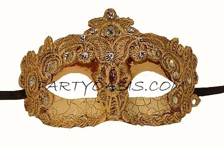 Brazilian Eye Gold Embroidered Masquerade Mask