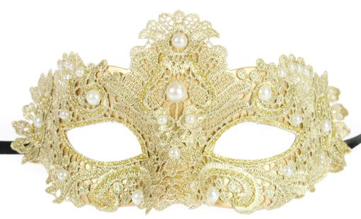 Gold Brisa Fabric Venetian Embroidered Masquerade Mask